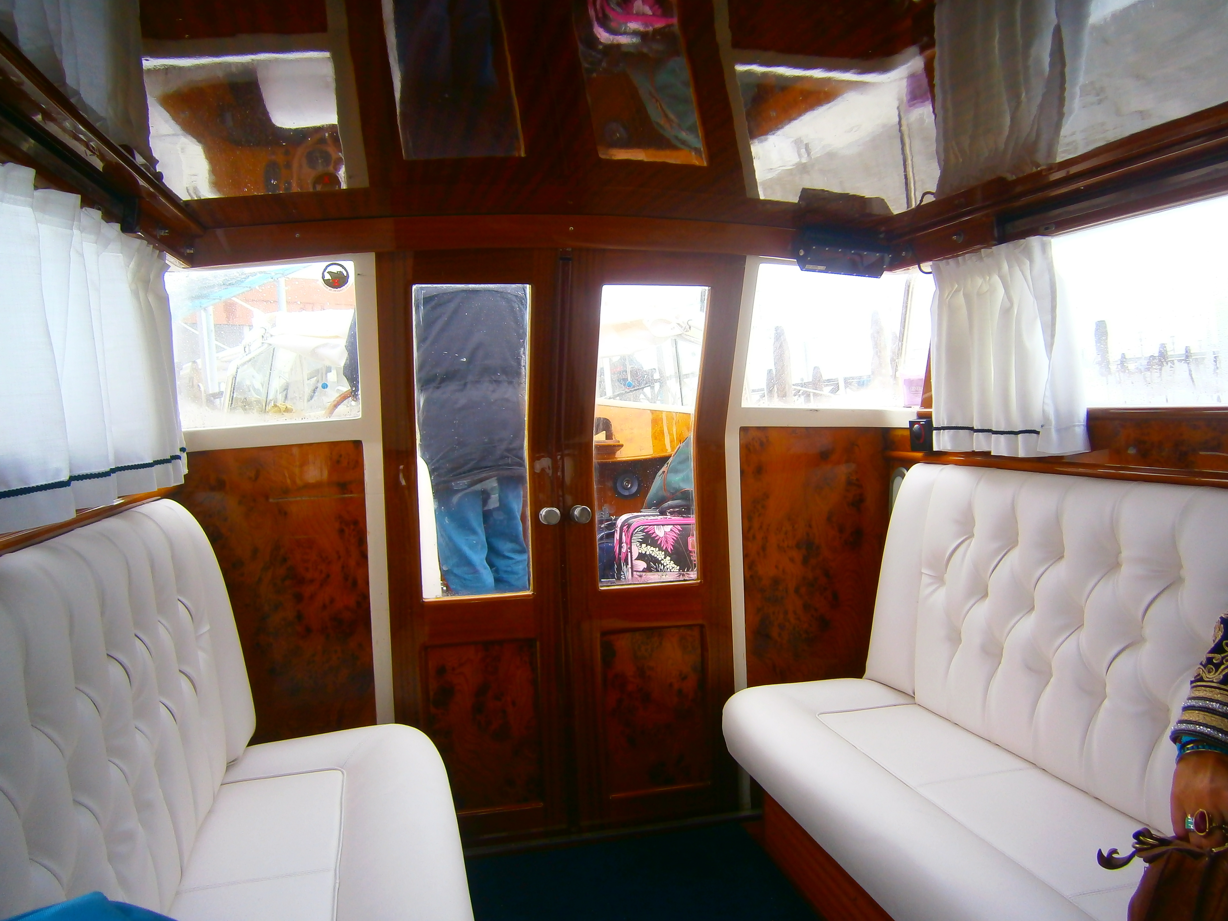 Inside of water taxi, Venice, Italy
